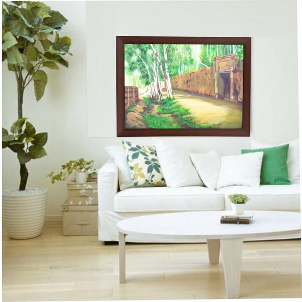تابلو نقاشی طرح کوچه باغ تابستان