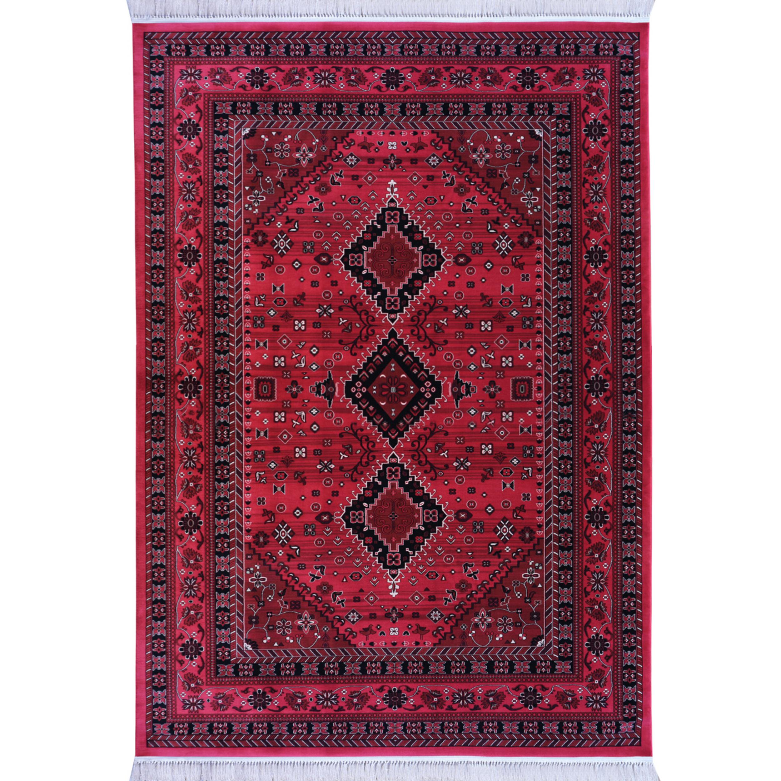 فرش ماشینی رادین اصفهان طرح بلوچ 5 رنگ زمینه اناری
