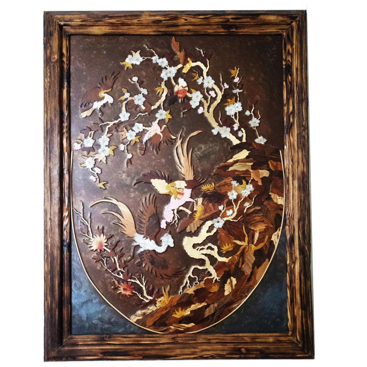 عکس تابلو معرق برجسته طرح گل و مرغ