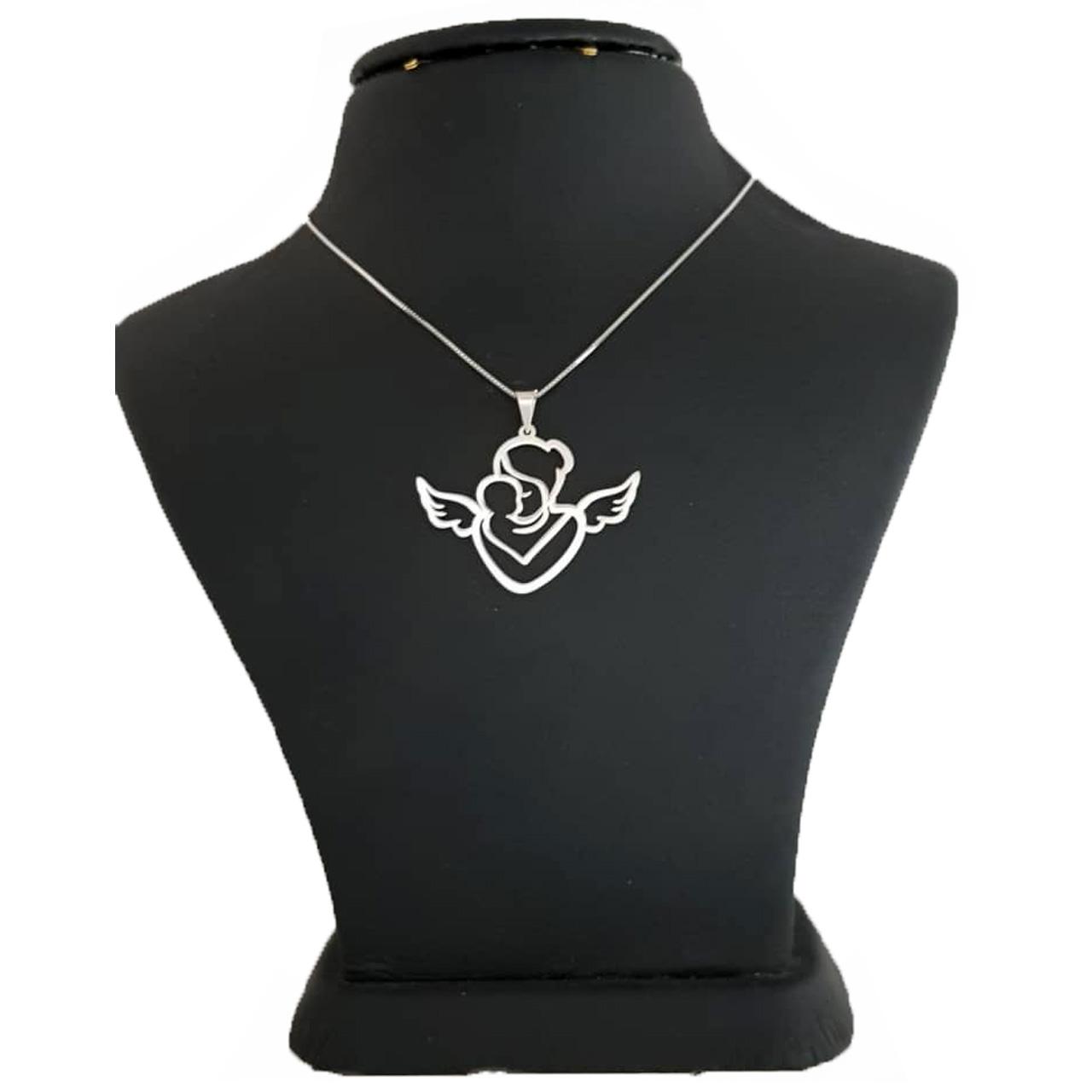 گردنبند نقره ترمه 1 طرح قلب و فرشته کد E16