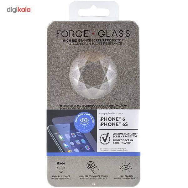 محافظ صفحه نمایش شیشه ای فورس گلس مدل Anti-Blue مناسب برای گوشی موبایل آیفون 6/6s main 1 2