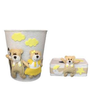 ست سطل و جادستمال کاغذی اتاق کودک طرح خرس خانواده مدل ۲