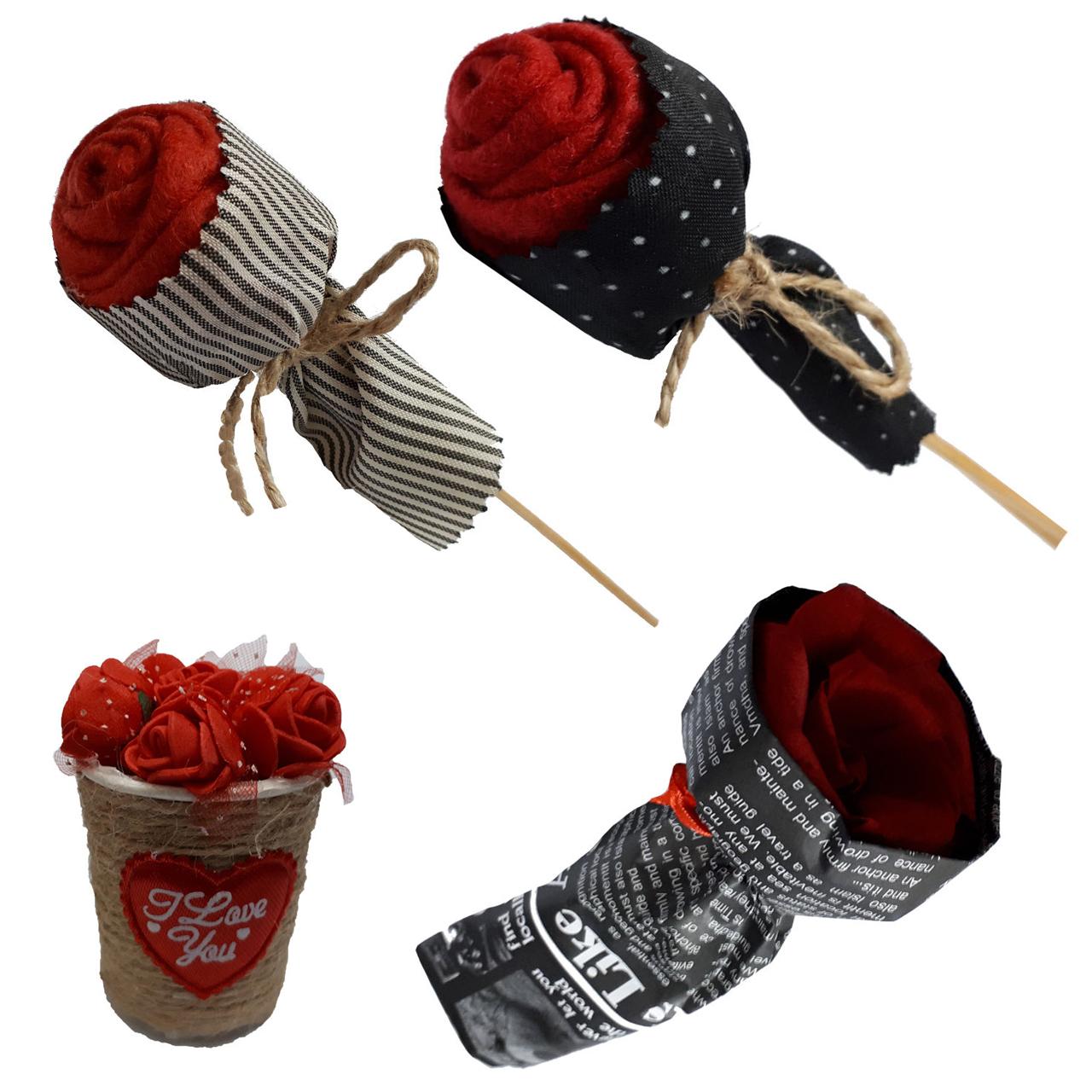 گلدان و گل مصنوعی مدل 3 redflower مجموعه 4 عددی