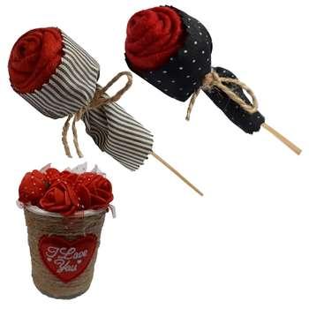 گل مصنوعی و گلدان مدل redflowers مجموعه 3 عددی