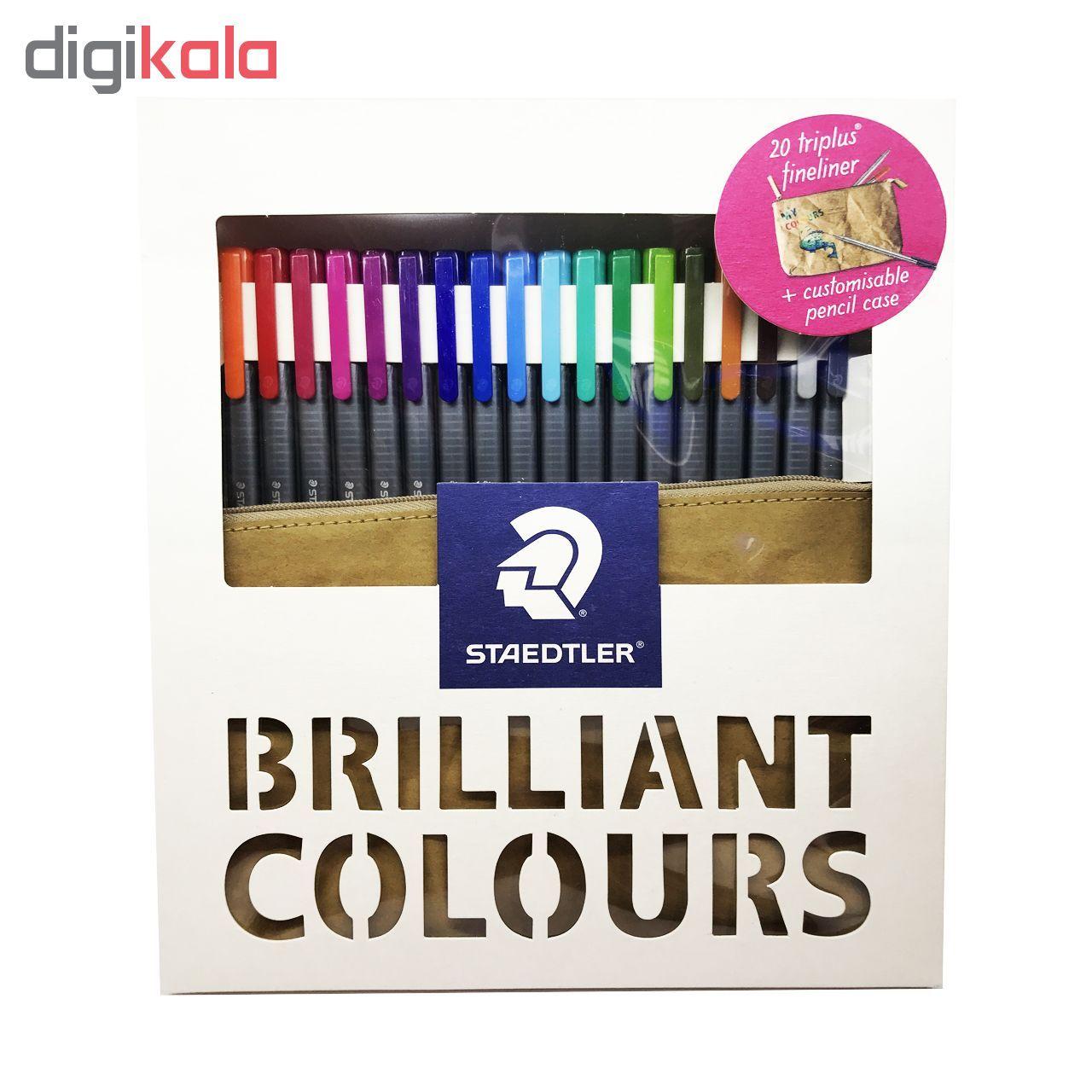 روان نویس ۲۰ رنگ استدلر مدل Triplus fineliner Brilliant Colours New به همراه کیف جا خودکاری main 1 1
