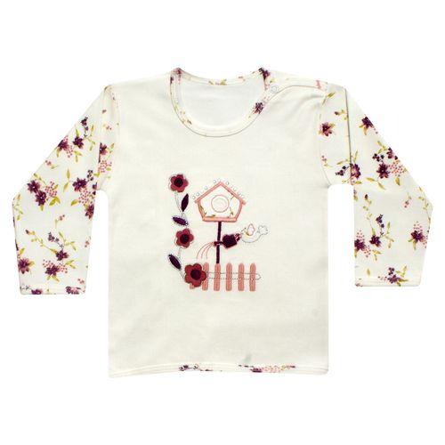 تی شرت آستین بلند نوزادی دخترانه طرح فاخته کد 16