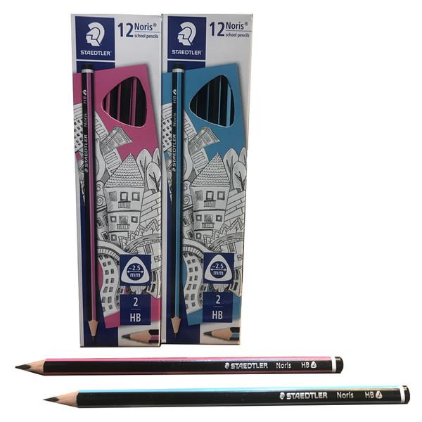 مداد مشکی استدلر مدل Noris گرافیت سه گوش بسته ۱۲ عددی