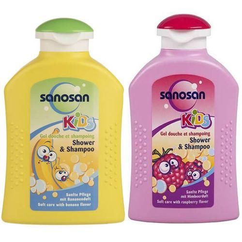 شامپو سر و بدن بچه سانوسان مدل Raspberry حجم 200 میلی لیتر به همراه شامپو سر و بدن بچه سانوسان مدل Kids Banana حجم 200 میلی لیتر