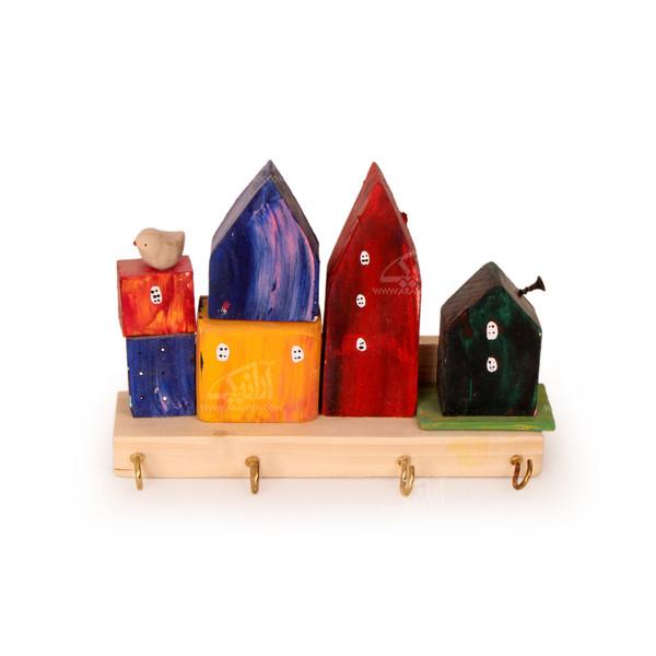 کلید آویز چوبی رنگ آمیزی  رنگارنگ طرح خانه شادی مدل 1005400005