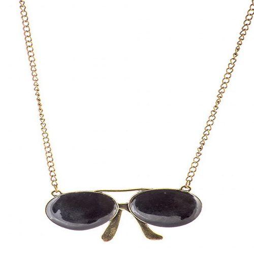 گردنبند طرح عینک دودی مدل 3502