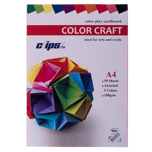 مقوای 180 گرمی 5 رنگ کلیپس مدل Color Play بسته 50 عددی