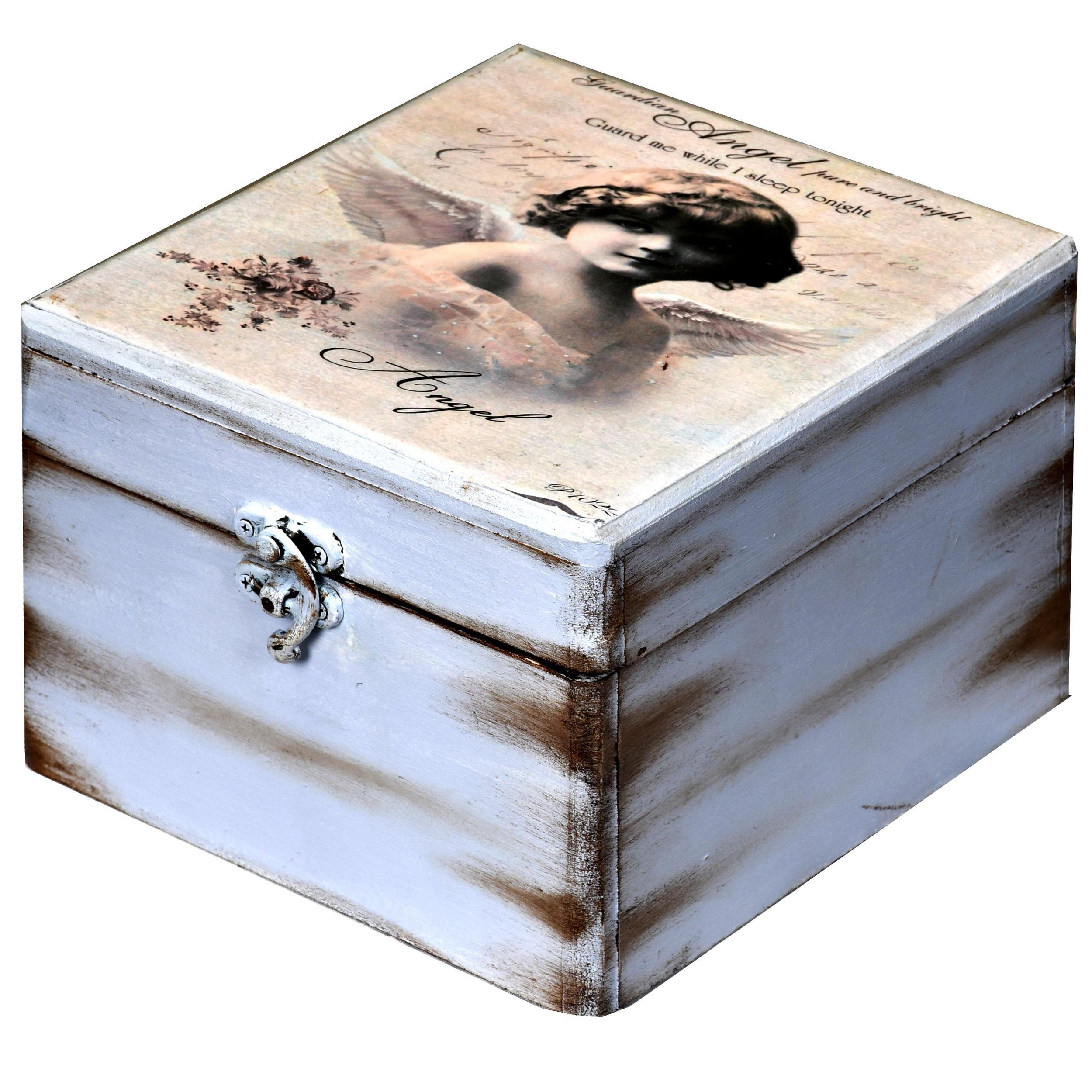 خرید                      جعبه هدیه چوبی طرح فرشته کد 01