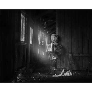 تابلو شاسی سری زیباترین عکس های جهان طرح نوازنده اکاردئون کد 198
