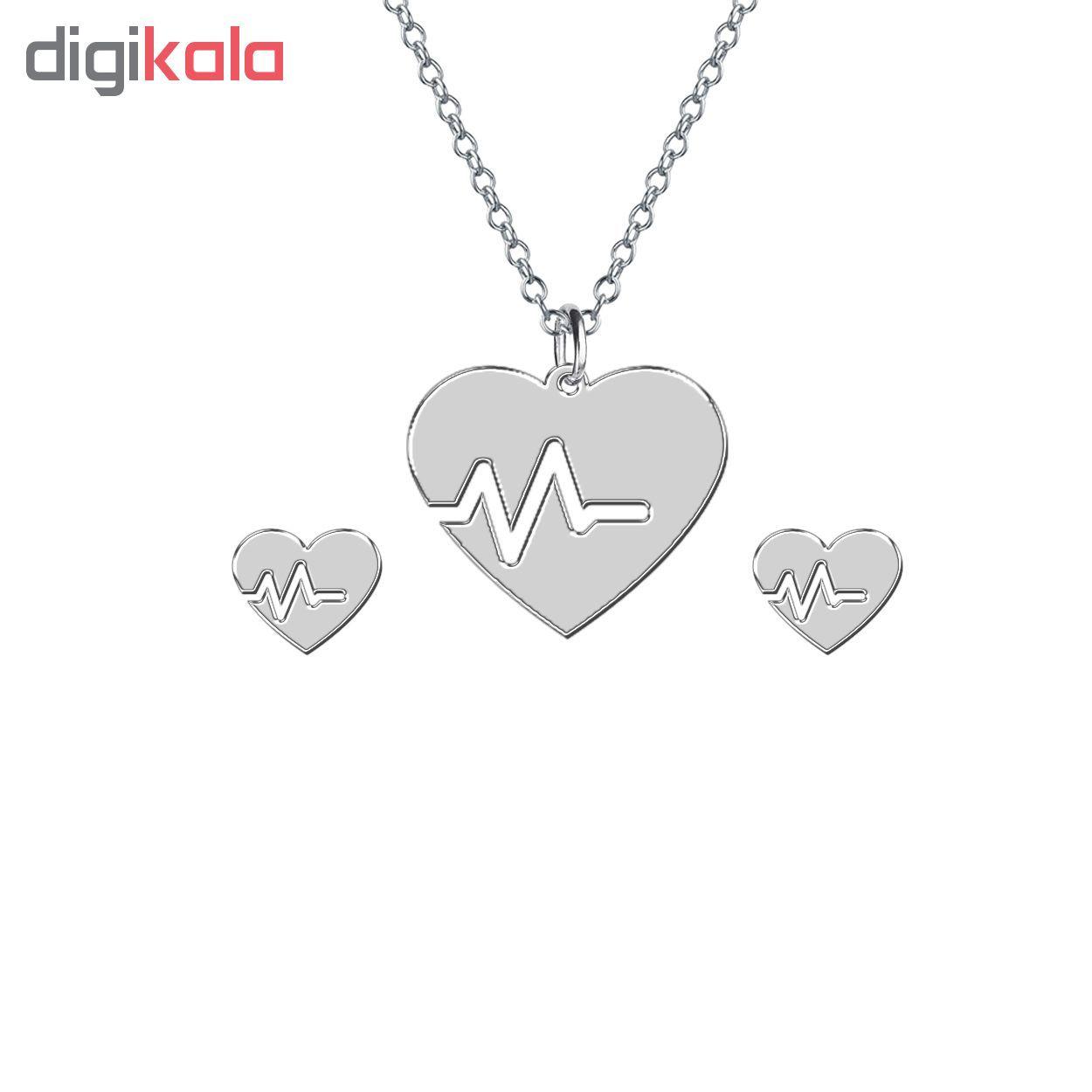 نیم ست نقره ترمه 1 طرح قلب کد E34