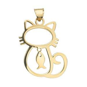 آویز گردنبند نقره زنانه طرح ماهی و گربه کد 03