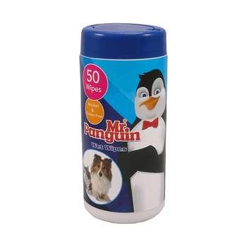 دستمال مرطوب حیوانات مستر پنگوئن مدل Wet Wipes بسته 50 عددی