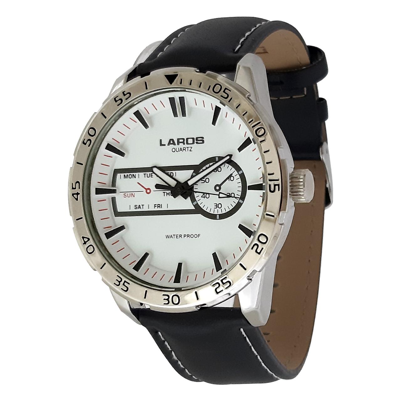 ساعت مچی عقربه ای مردانه لاروس مدل0916-79943-s به همراه دستمال مخصوص برند کلین واچ 30