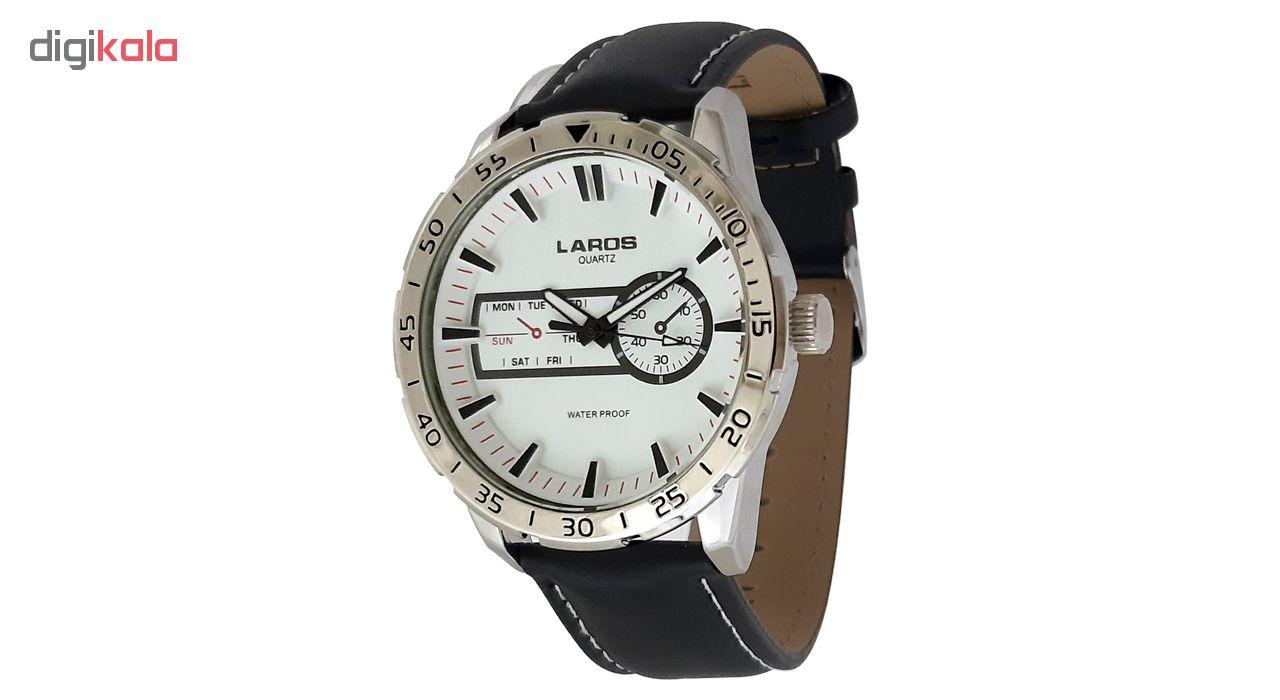 ساعت مچی عقربه ای مردانه لاروس مدل0916-79943-s به همراه دستمال مخصوص برند کلین واچ