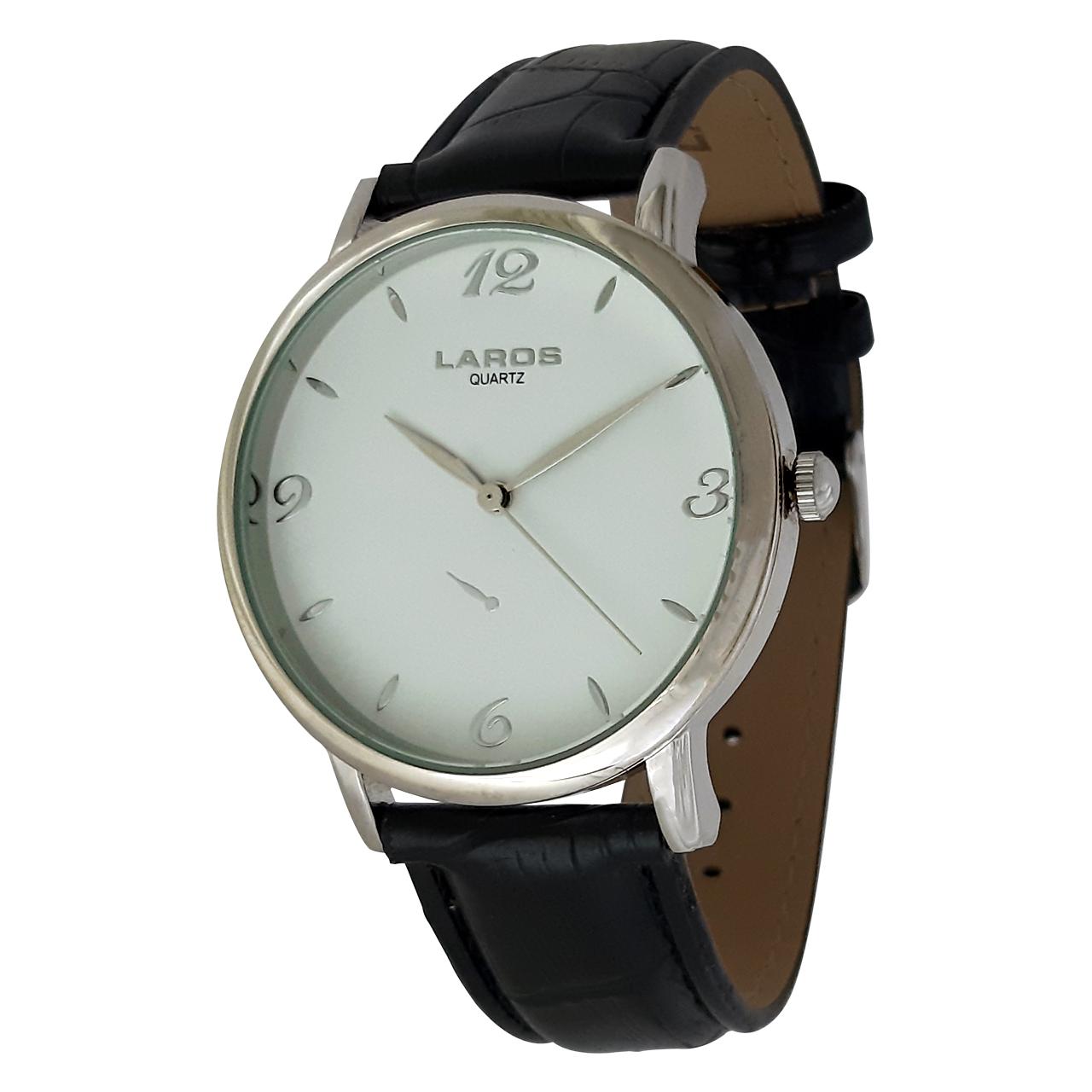 ساعت مچی عقربه ای مردانه لاروس مدل0517-79997-s به همراه دستمال مخصوص برند کلین واچ 8