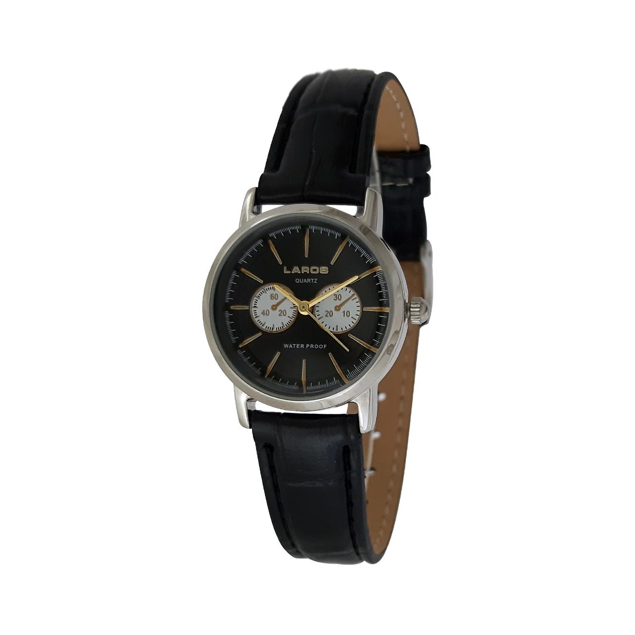 ساعت مچی عقربه ای زنانه لاروس مدل 0215-79530-s به همراه دستمال مخصوص برند کلین واچ 28