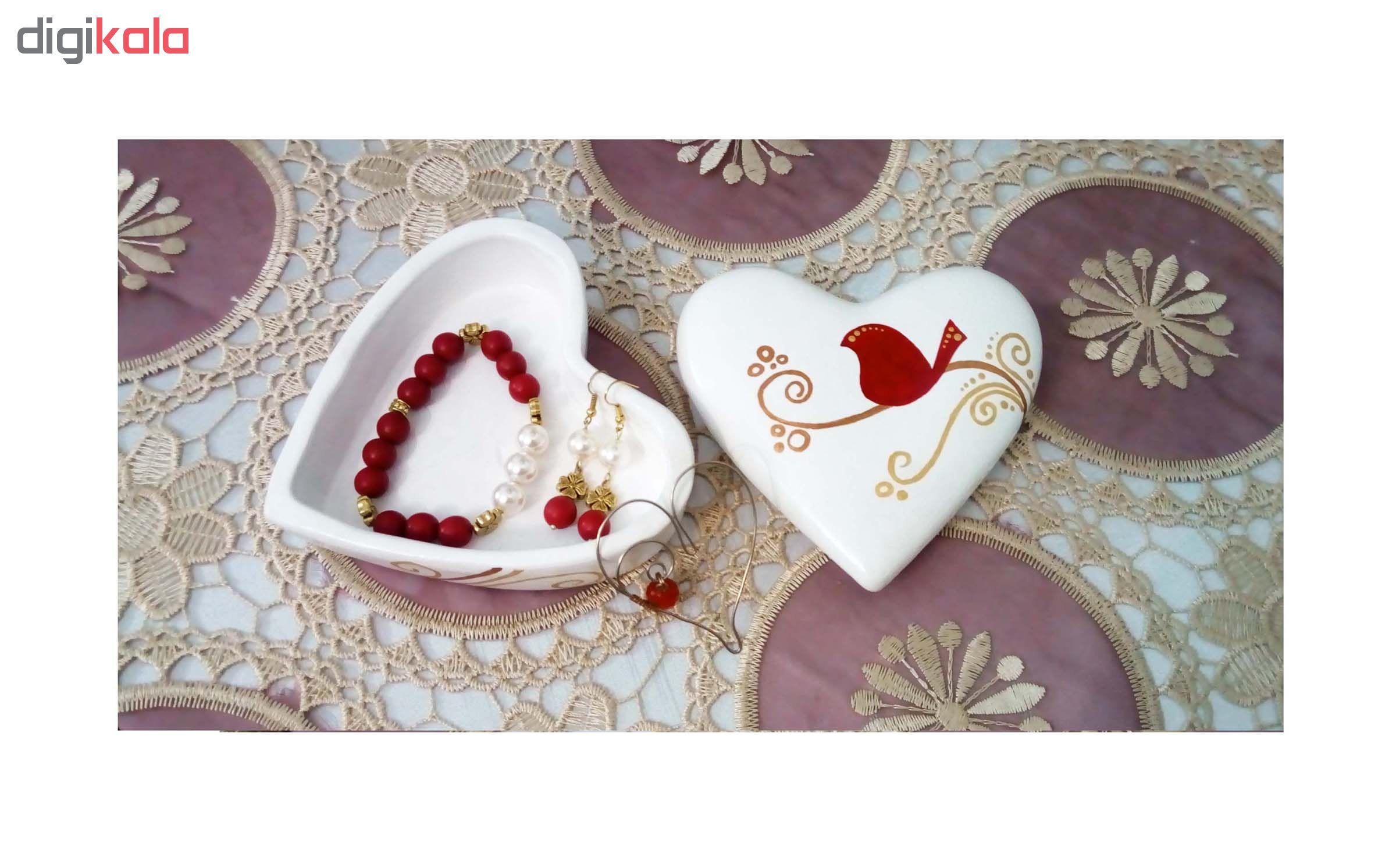 جعبه جواهر سفالی مدل قلب کد S 001