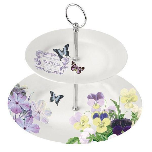 ظرف سرو 2 طبقه پی پی دی طرح باغ گل و پروانه بنفش