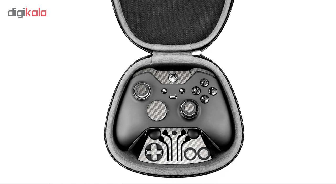 برچسب ماهوت طرح Silver Carbon-fiber Texture مناسب برای دسته کنترل بازی مایکروسافت Elite Xbox One controller