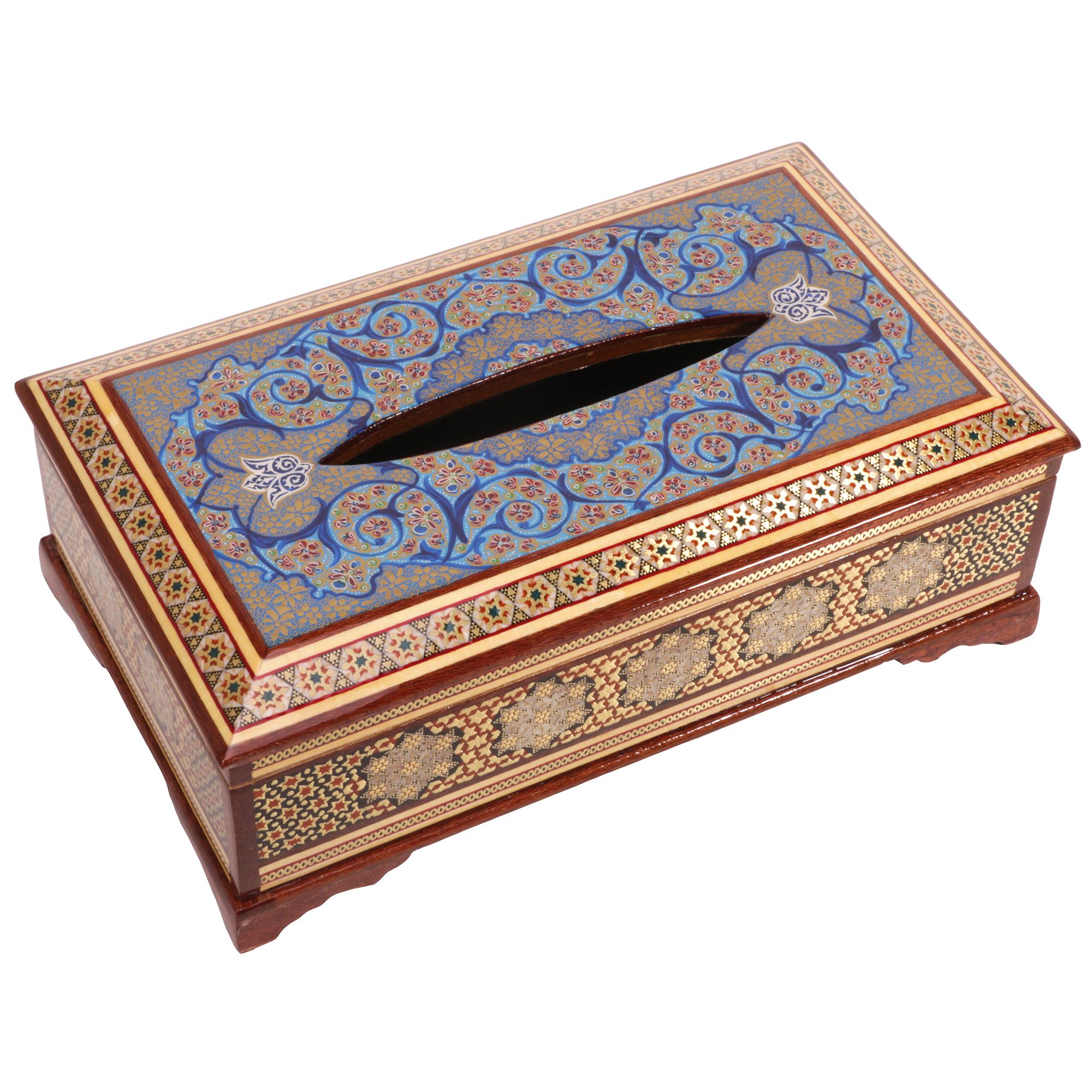 جعبه دستمال کاغذی خاتم کاری گالری گوهران مدل 169