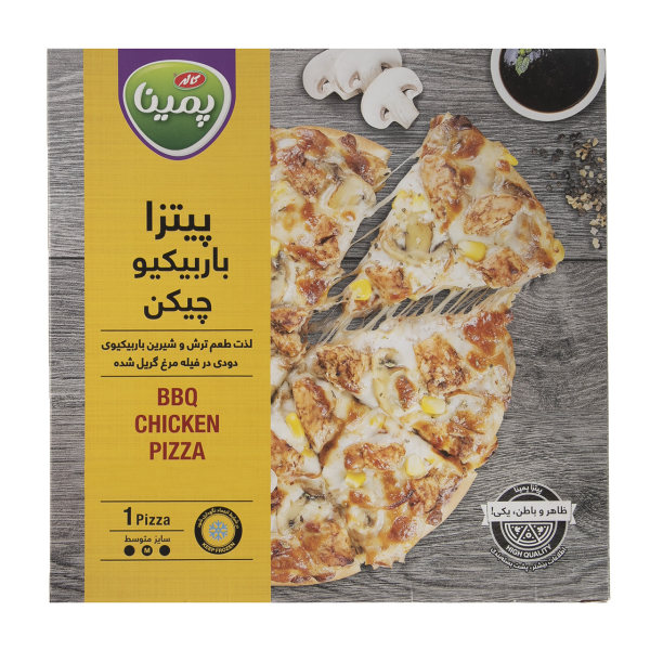 پیتزا باربیکیو چیکن پمینا کاله مقدار 380 گرم