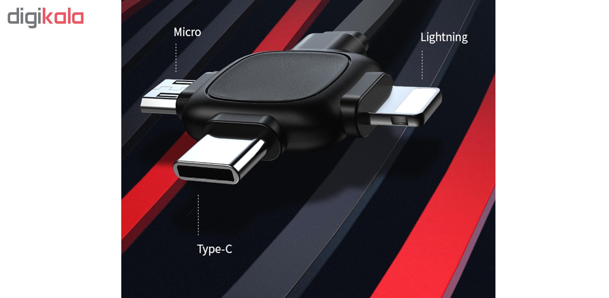 کابل تبدیل USB به لایتنینگ/ micro USB /USB-C یوسمز مدل US-SJ263 طول 1 متر main 1 2