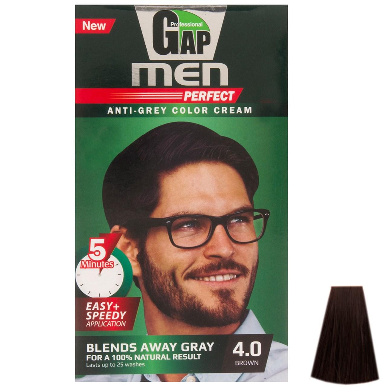 کیت رنگ مو گپ سری Men Perfect مدل Brown شماره 4.0