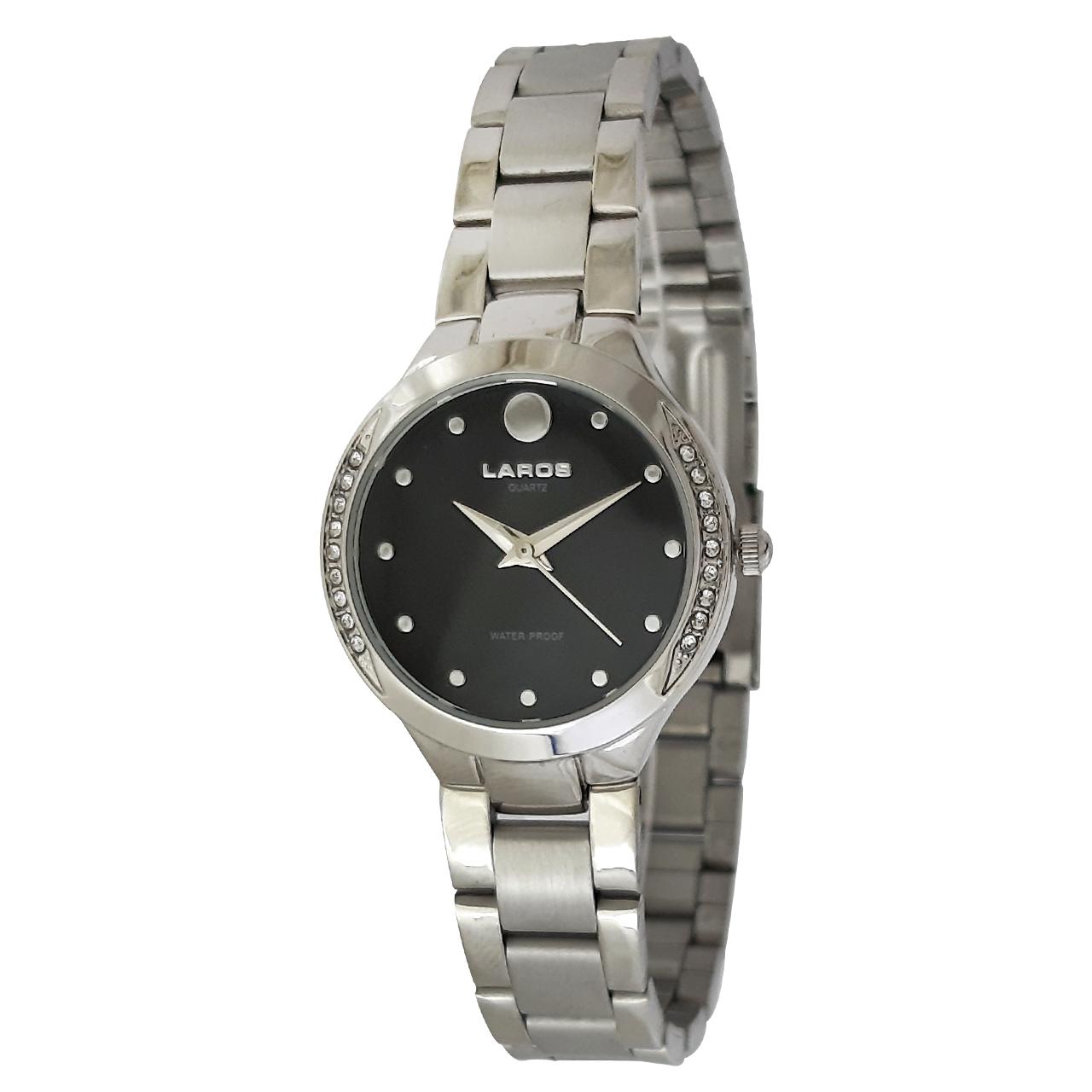 ساعت مچی عقربه ای زنانه لاروس مدل0916-79916 به همراه دستمال مخصوص برند کلین واچ 24