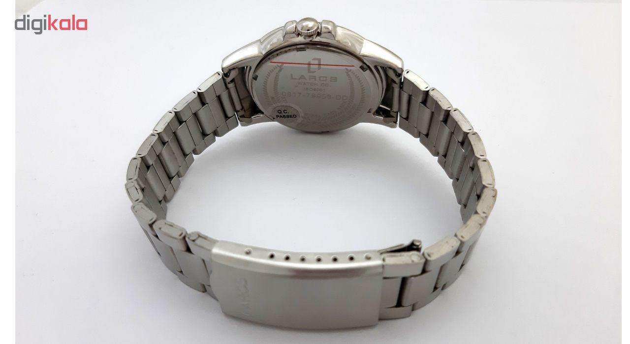 ساعت مچی عقربه ای زنانه لاروس مدل0916-79916 به همراه دستمال مخصوص برند کلین واچ