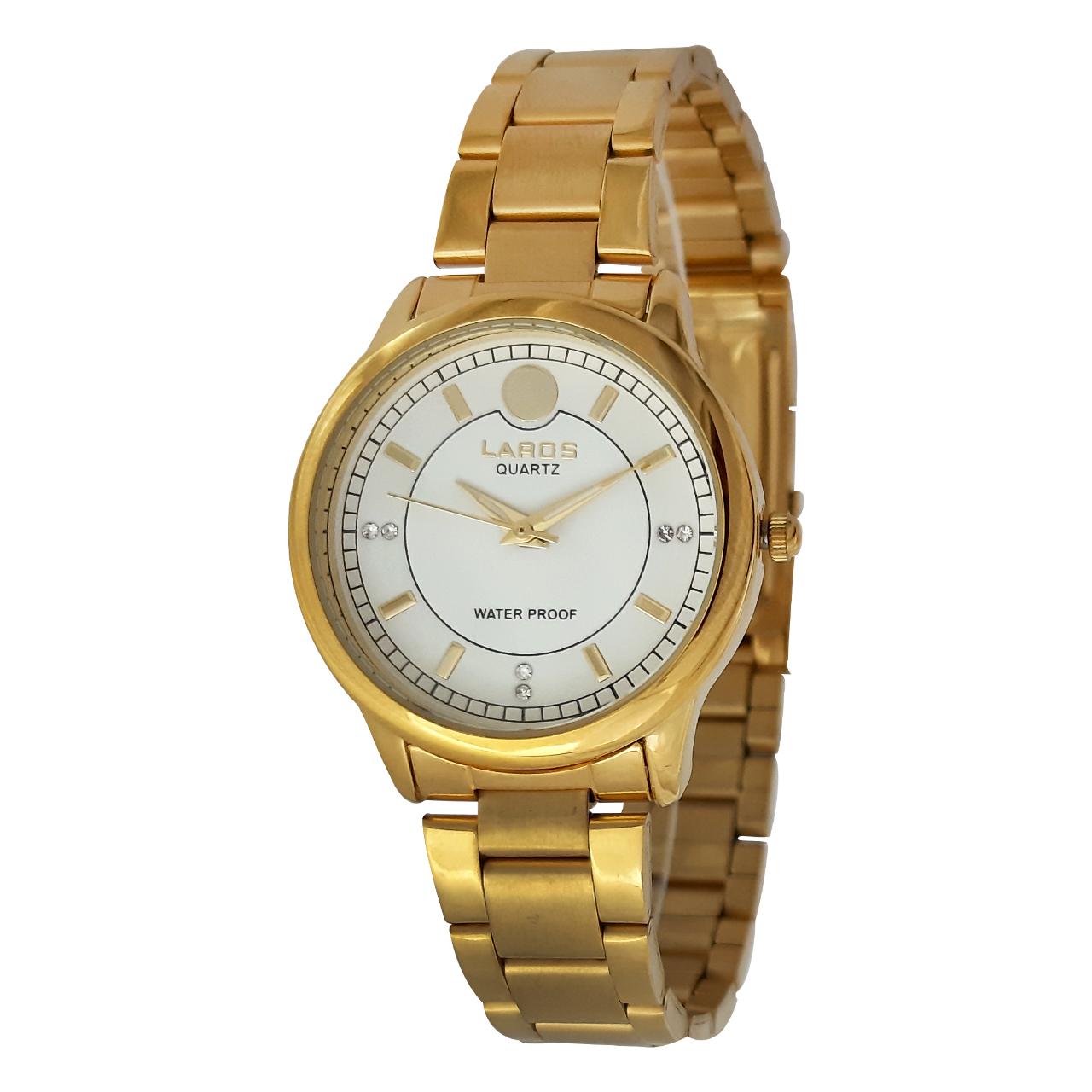 ساعت مچی عقربه ای زنانه لاروس مدل 0916-79914 به همراه دستمال مخصوص برند کلین واچ 37