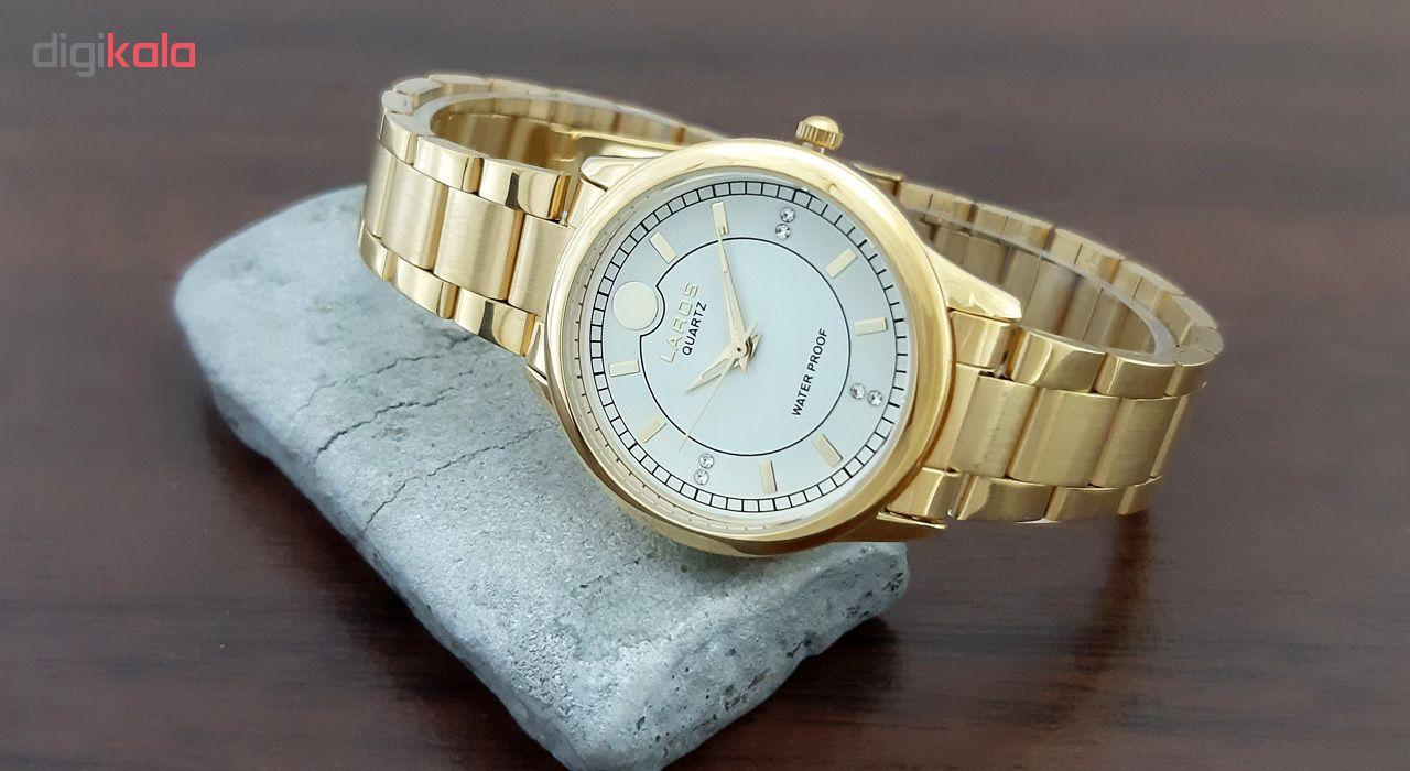 ساعت مچی عقربه ای زنانه لاروس مدل 0916-79914 به همراه دستمال مخصوص برند کلین واچ