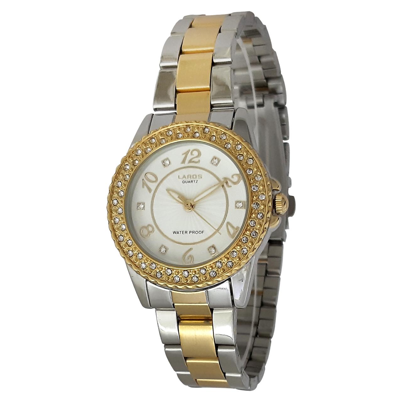 ساعت مچی عقربه ای زنانه لاروس مدل 0717-79800 به همراه دستمال مخصوص برند کلین واچ