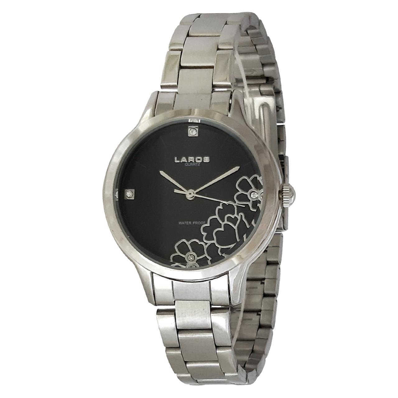ساعت مچی عقربه ای زنانه لاروس مدل 0416-79828 به همراه دستمال مخصوص برند کلین واچ 25
