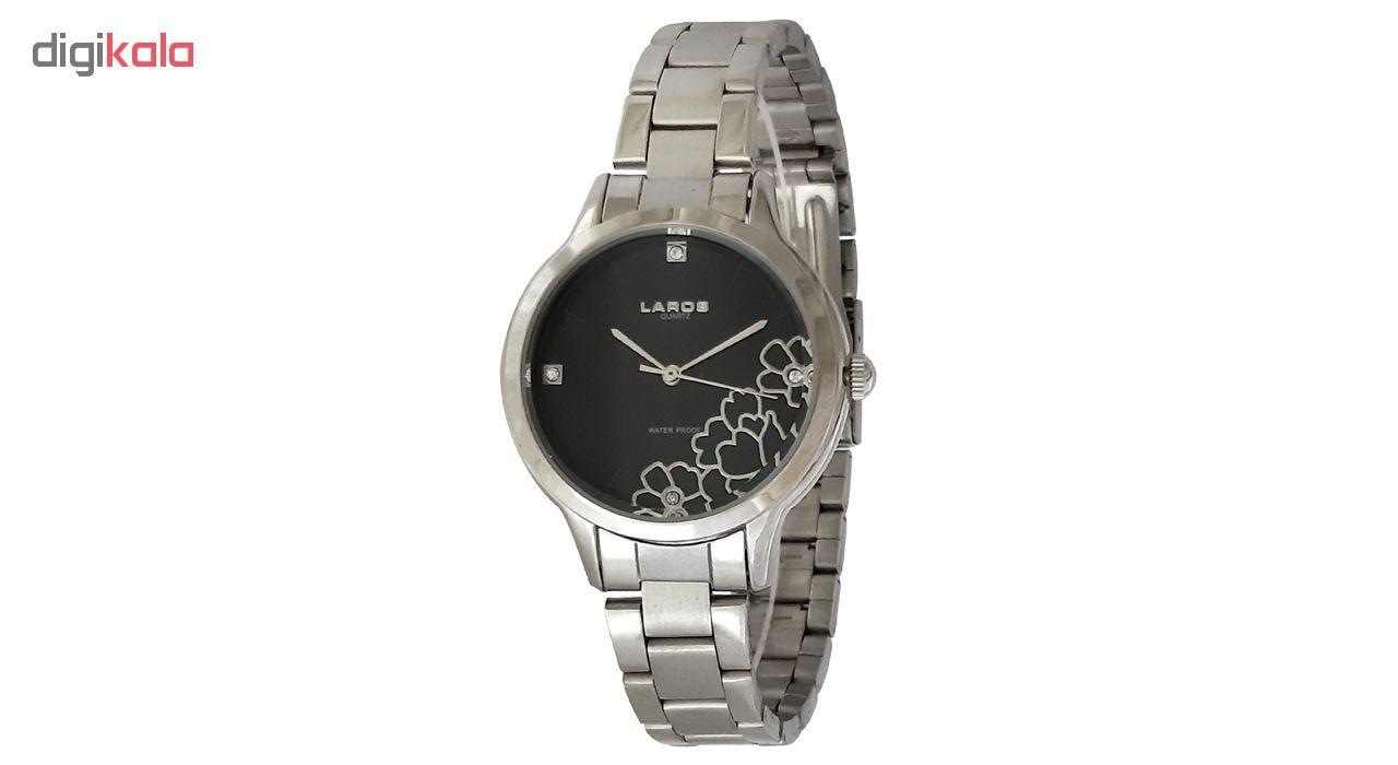 ساعت مچی عقربه ای زنانه لاروس مدل 0416-79828 به همراه دستمال مخصوص برند کلین واچ