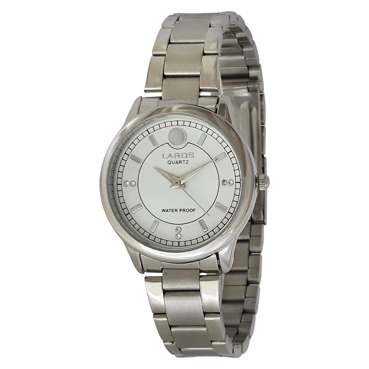 ساعت مچی عقربه ای زنانه لاروس مدل 0916-79914 به همراه دستمال مخصوص برند کلین واچ 44