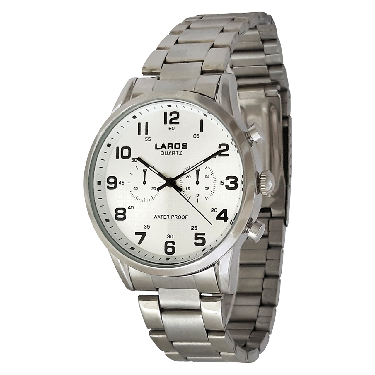 ساعت مچی عقربه ای مردانه لاروس مدل0917-80095 به همراه دستمال مخصوص برند کلین واچ 17