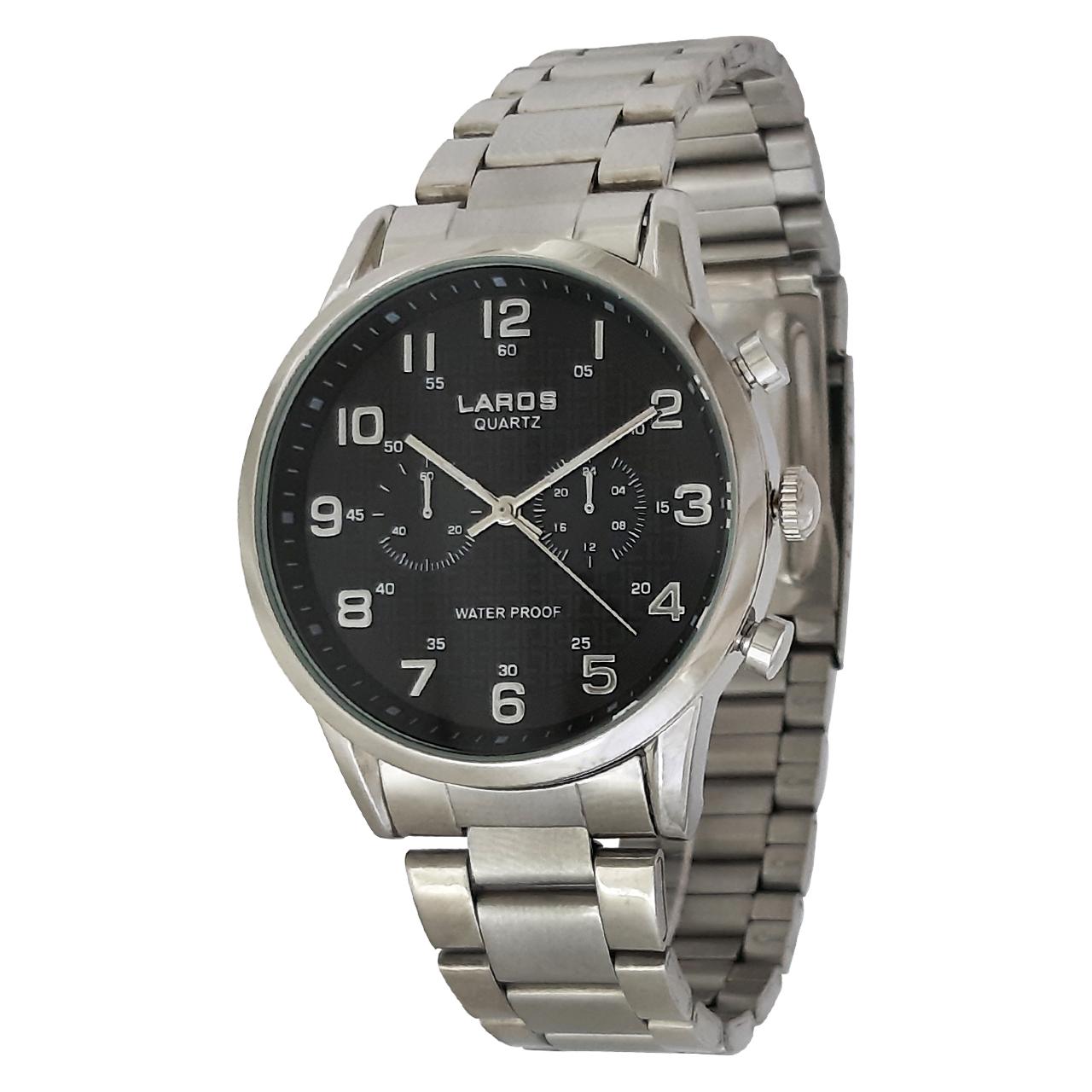 ساعت مچی عقربه ای مردانه لاروس مدل0917-80095 به همراه دستمال مخصوص برند کلین واچ 35