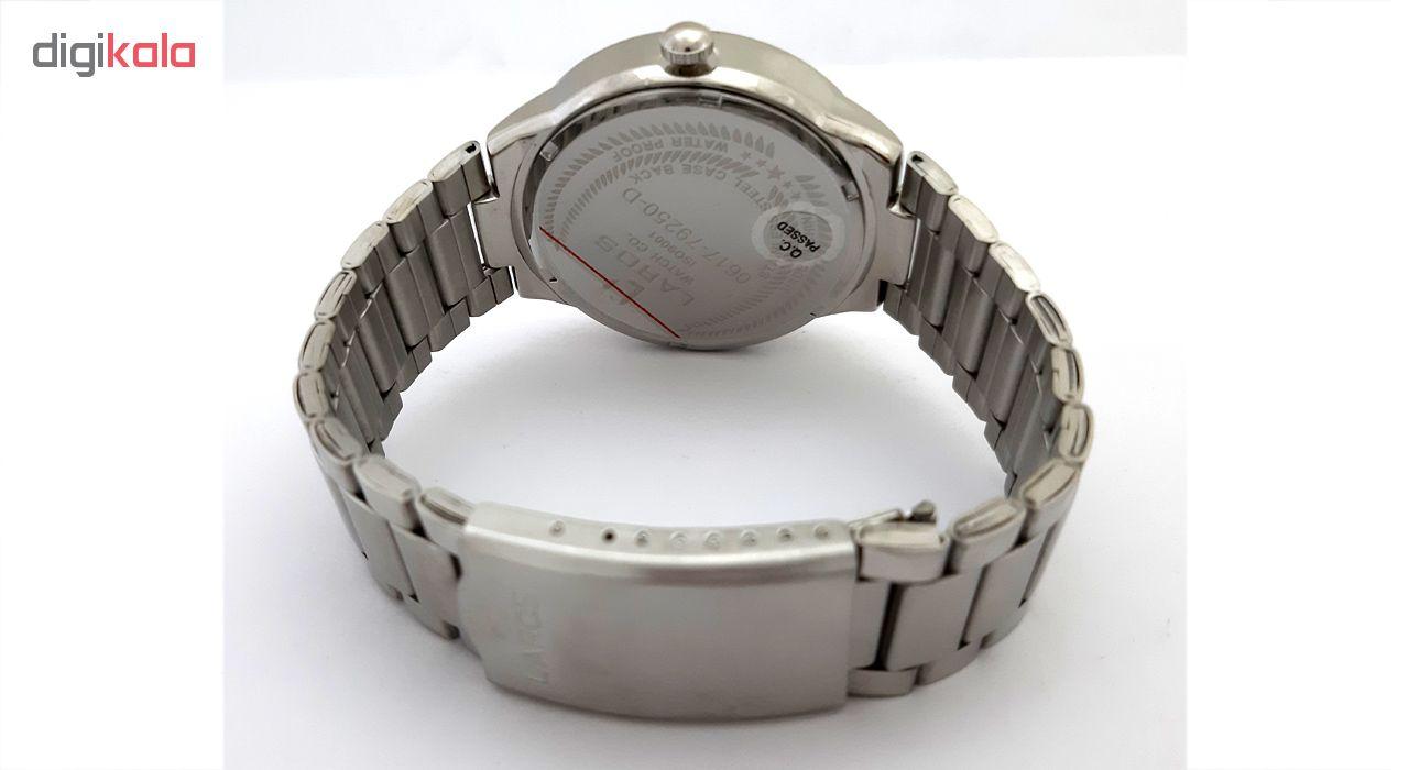 ساعت مچی عقربه ای مردانه لاروس مدل0617-79250-d به همراه دستمال مخصوص برند کلین واچ