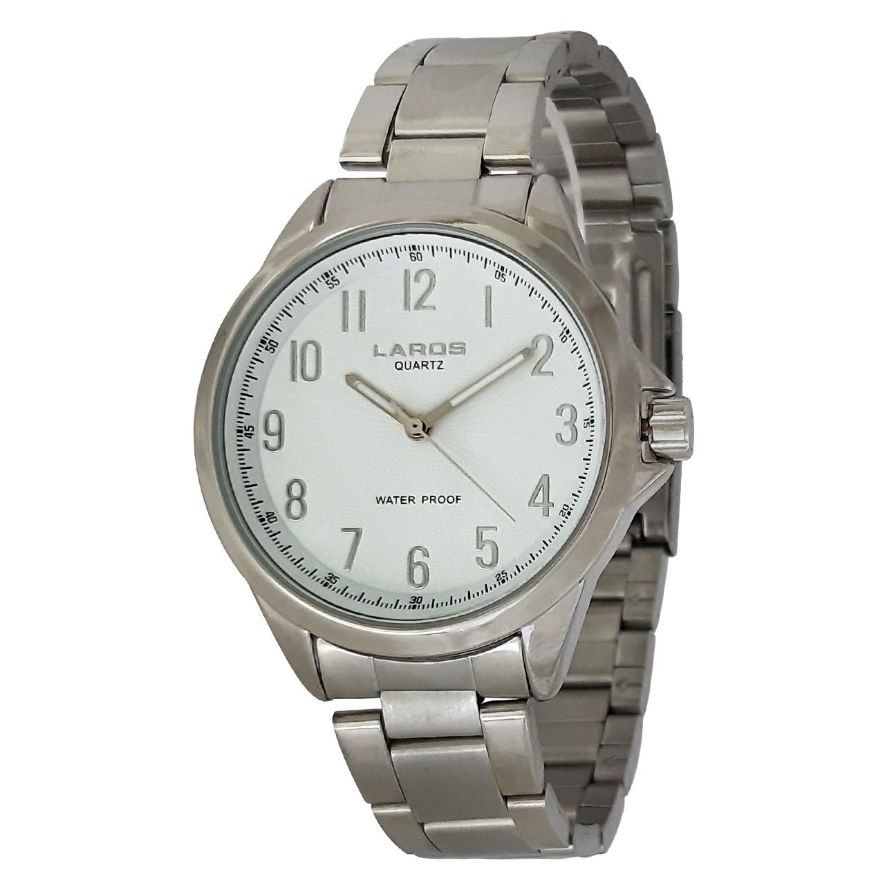 ساعت مچی عقربه ای مردانه لاروس مدل0517-79981 به همراه دستمال مخصوص برند کلین واچ 55