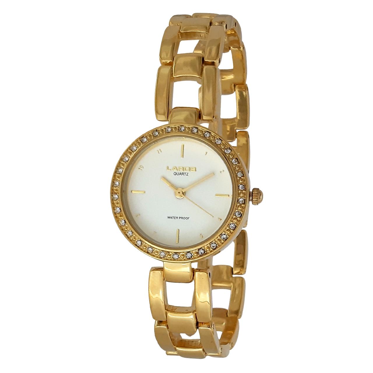ساعت مچی عقربه ای زنانه لاروس مدل 1117-80138 به همراه دستمال مخصوص برند کلین واچ 23