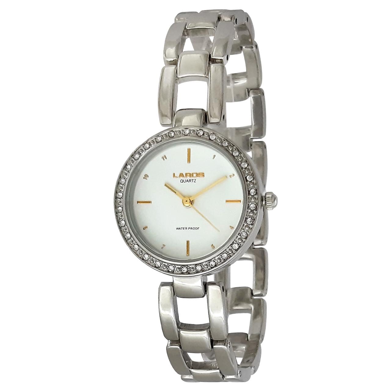 ساعت مچی عقربه ای زنانه لاروس مدل 1117-80138 به همراه دستمال مخصوص برند کلین واچ 22