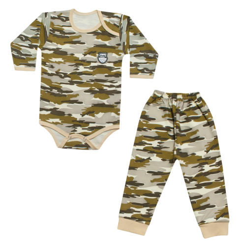 ست 2 تکه لباس نوزادی طرح چریکی کد 23