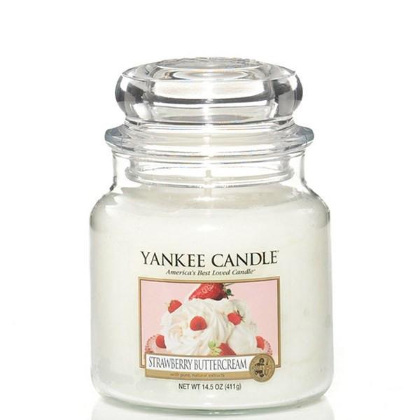 شمع کوچک ینکی کندل مدل خامه کرمدار توت فرنگی