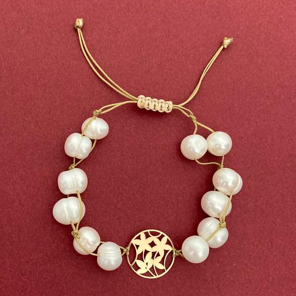 دستبند طلا 18 عیار زنانه الماسین آذر طرح گل مدل GL-BA01