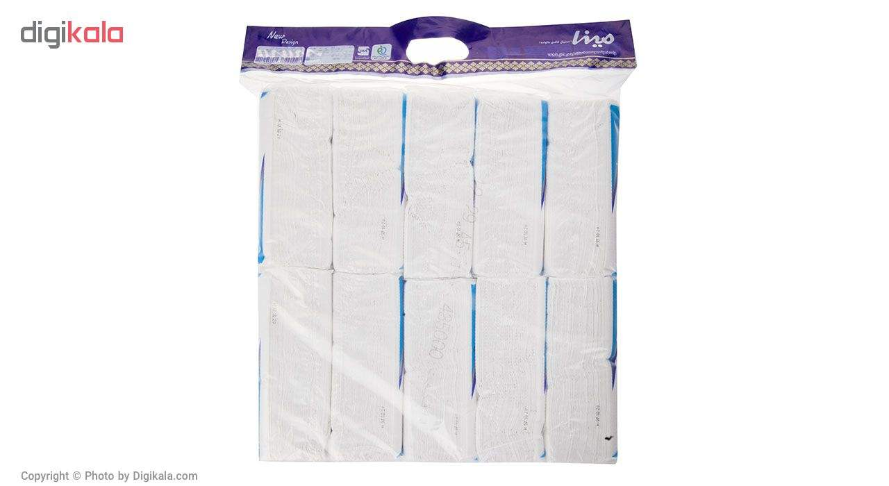 دستمال کاغذی 100 برگ مینا مدل Blue بسته 10 عددی