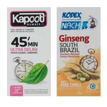 کاندوم ناچ کدکس مدل Ginseng بسته 12 عددی به همراه کاندوم کاپوت مدل 45 Minutes بسته 12 عددی